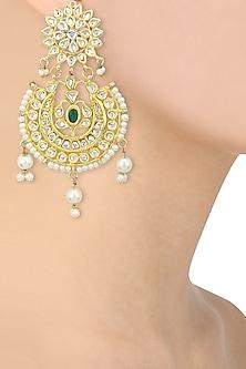 Gold Finish Kundan and Pearls Studded Chandbali Earrings by Auraa Trends