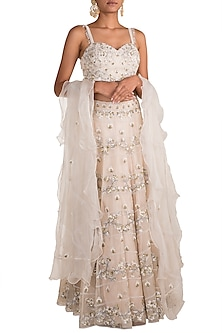 Ivory Sequins Embroidered Lehenga Set by AWIGNA by Varsha and Rittu