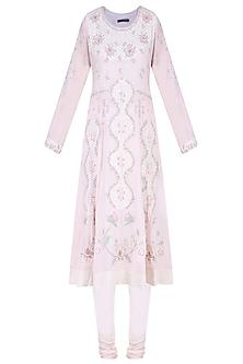Powder Pink Aari and Beads Embroidered Anarkali Set