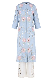 Powder Blue 3D Embroidered Roses Tunic With Off White Pants