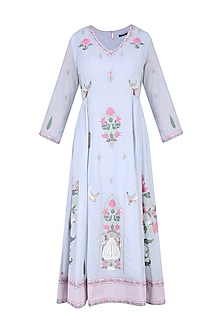 Powder Blue Aari and Beads Embroidered Tunic