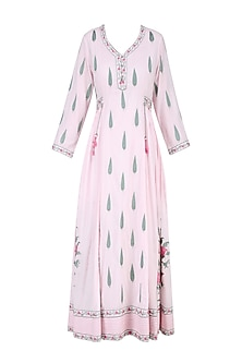 Powder Pink and Green Floral Embroidered Anarkali Tunic