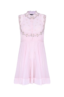 Powder Pink Floral Embroidered Angrakha Top by Abhishek Vermaa
