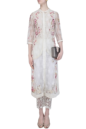 Powder Pink Block Printed Applique Work Tunic and Pants Set by Abhishek Vermaa
