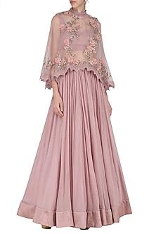 Pink Embroidered Short Cape with Lehenga Skirt Set by Abhishek Vermaa