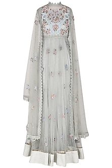 Sea Blue Embroidered Cape Style Anarkali Set