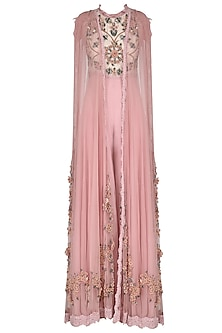 Pink Embroidered Jumpsuit with Pleated Dupatta