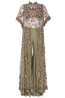 Olive Green Embroidered Long Cape with Sharara Pants Set