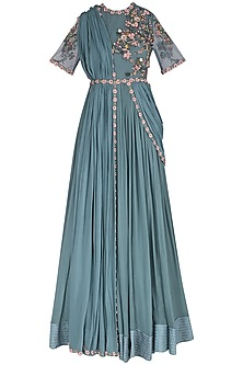 Teal 3D Floral Embroidered Anarkali Set