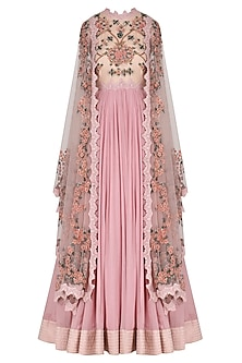 Lilac Pink 3D Floral Embroidered Anarkali Set