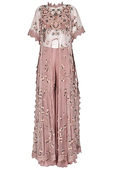 Dusky Pink Embroidered Long Cape with Sharara Pants Set