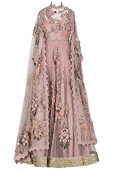 Dusky Pink Embroidered and Laser Cut Anarkali Set