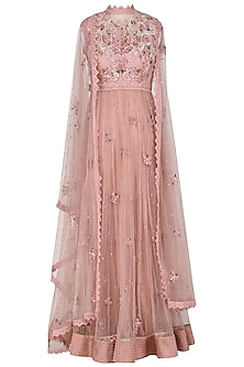 Blush Pink Embroidered Drape Dupatta Anarkali Set
