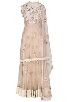 Ivory Embroidered Drape Dupatta Anarkali Set