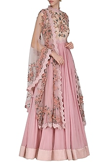 Lilac Embroidered Anarkali Gown by Abhishek Vermaa