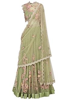 Olive Green Floral Embroidered Laser Cut Anarkali Gown