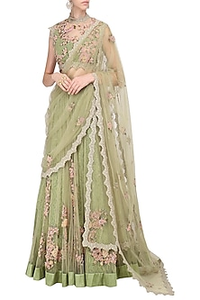 Olive Green Floral Embroidered Laser Cut Anarkali Gown by Abhishek Vermaa