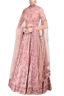 Rose Pink Embroidered Lehenga Set by Abhishek Vermaa