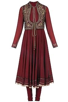Maroon Zardozi Embroiderd Jacket Anarkali Set