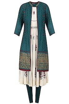 Ivory and Teal Zari Embroidered Jacket Anarkali Set