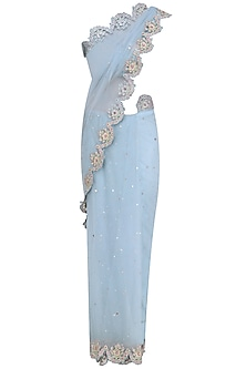 Blue Floral Cutwork Embroidered Saree and Blouse Set by Abhishek Vermaa