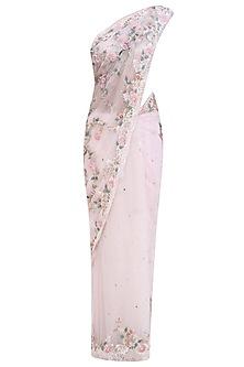 Peach Ribbon and Zarodzi 3D Flowers Saree and Blouse Set