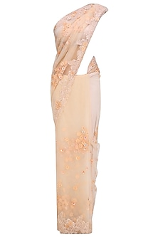 Peach 3D Flowers Embroidered Saree and Blouse Set