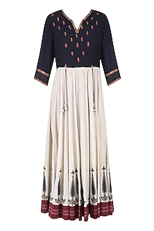 Ivory and Navy Block Printed and Hand Embroidered Kurta