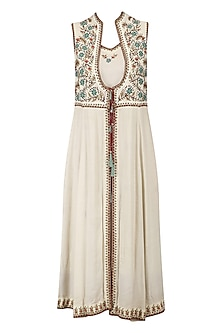Ivory Floral Thread Embroidered Kurta