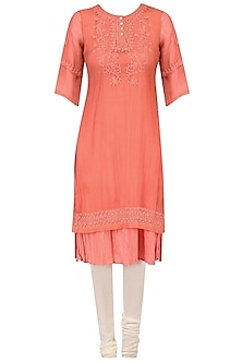 Peach High Low Embroidered Kurta Set