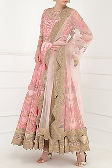 Pastel Pink Embroidered Anarkali Set by Avdi