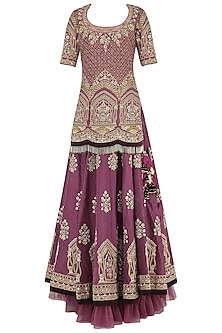 Wine Embroidered Kurta with Lehenga Set