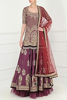 WINE EMBROIDERED KURTA WITH LEHENGA SET by AVDI