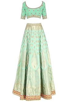 Mint Green Embroidered Lehenga Set