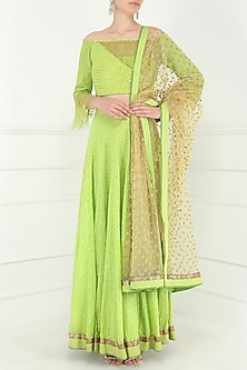 Lime Green Embroidered Lehenga Set by Avdi