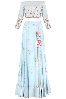 Powder Blue Floral Print Embroidered Lehenga Set by Avdi