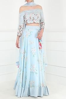 Powder Blue Floral Print Embroidered Lehenga Set by Avdi