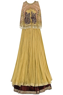 Gold and Wine Lehenga with Embroidered Cape Set