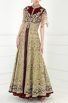 Gold and Wine Embroidered Front Open Jacket with Lehenga Skirt by Avdi