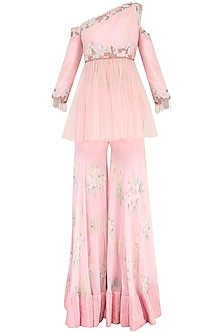 Baby Pink Embroidered One Shoulder Tunic with Sharara Pants