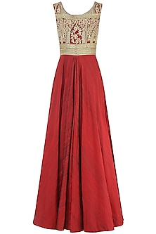 Red Embroidered Gown by Avdi