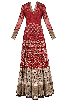 Red Embroidered Anarkali Set by Avdi