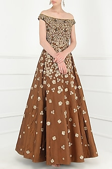 Rust Embroidered Gown by Avdi