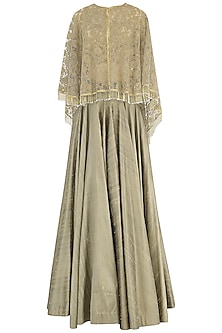 Gold Lehenga, Bustier and Embroidered Cape Set by Avdi