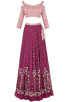 Magenta Pink Embroidered Lehenga Set