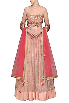Peach Embroidered Lehenga Set by Avdi