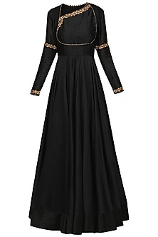 Black and Gold Anarkali Set