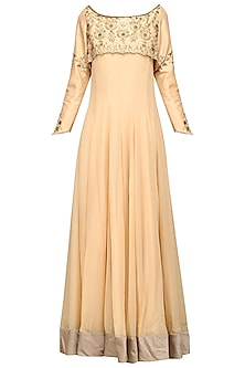 Gold Embroidered Anarkali Set