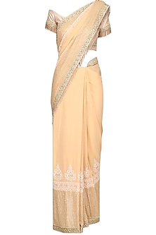 Gold Embrodiered Saree with Off Shoulder Blouse