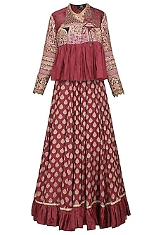 Burgundy Embroidered Jacket with Lehenga Skirt